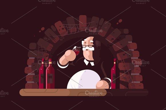 Sommelier tasting wine in Illustrations