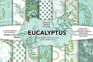 Watercolor Eucalyptus leaves DP pack