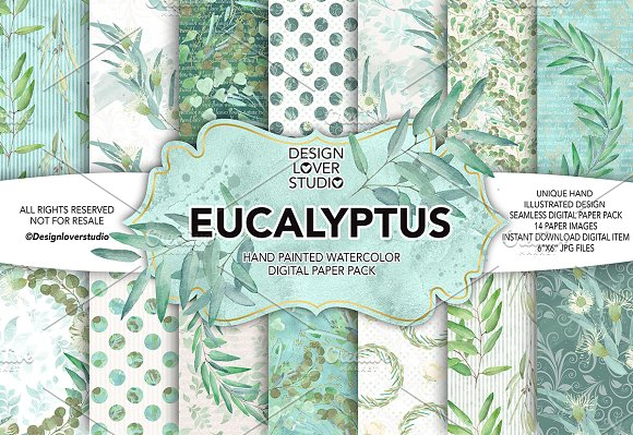 Watercolor Eucalyptus leaves DP pack