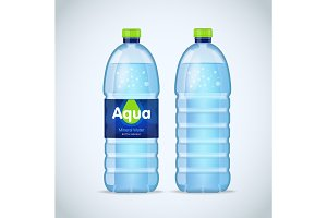 Realistic bottles with water