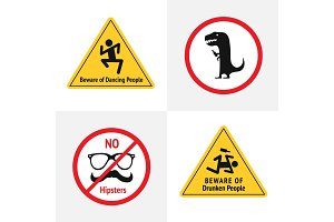Vector set of the funny road signs