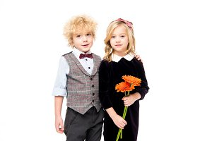 Little children with flower