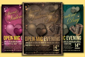 Valentine Open Mic Flyer Template