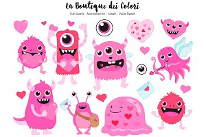 Pink Valentines Day Monsters Clipart