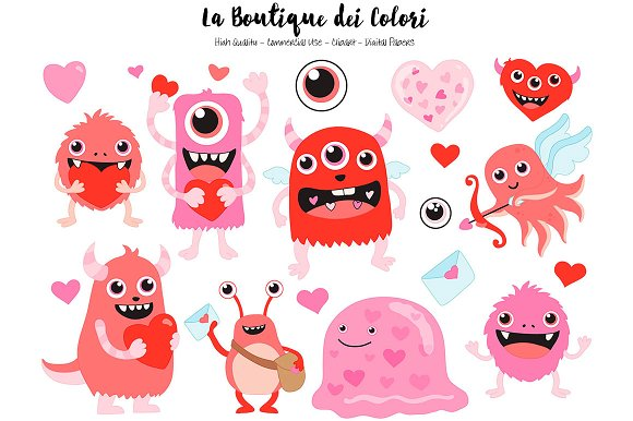 Red Valentines Day Monsters Clipart