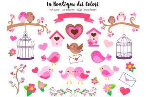 Pink Valentine's Day Birds Clip art