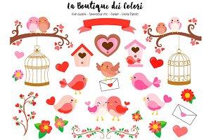 Red Valentine's Day Birds Clip art