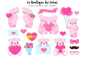 Pink Valentine's Day Teddy Bears
