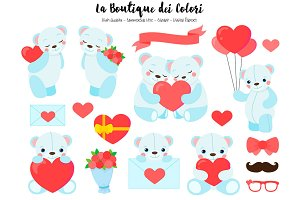 Blue Valentine's Day Bears Clip Art