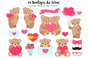 Valentine's Day Bears Clip Art