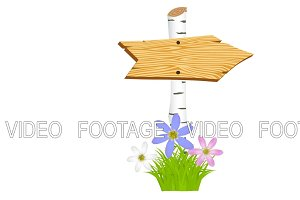 Wooden arrow with flowers