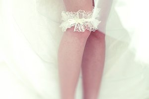 A blurred picture of bride's leg