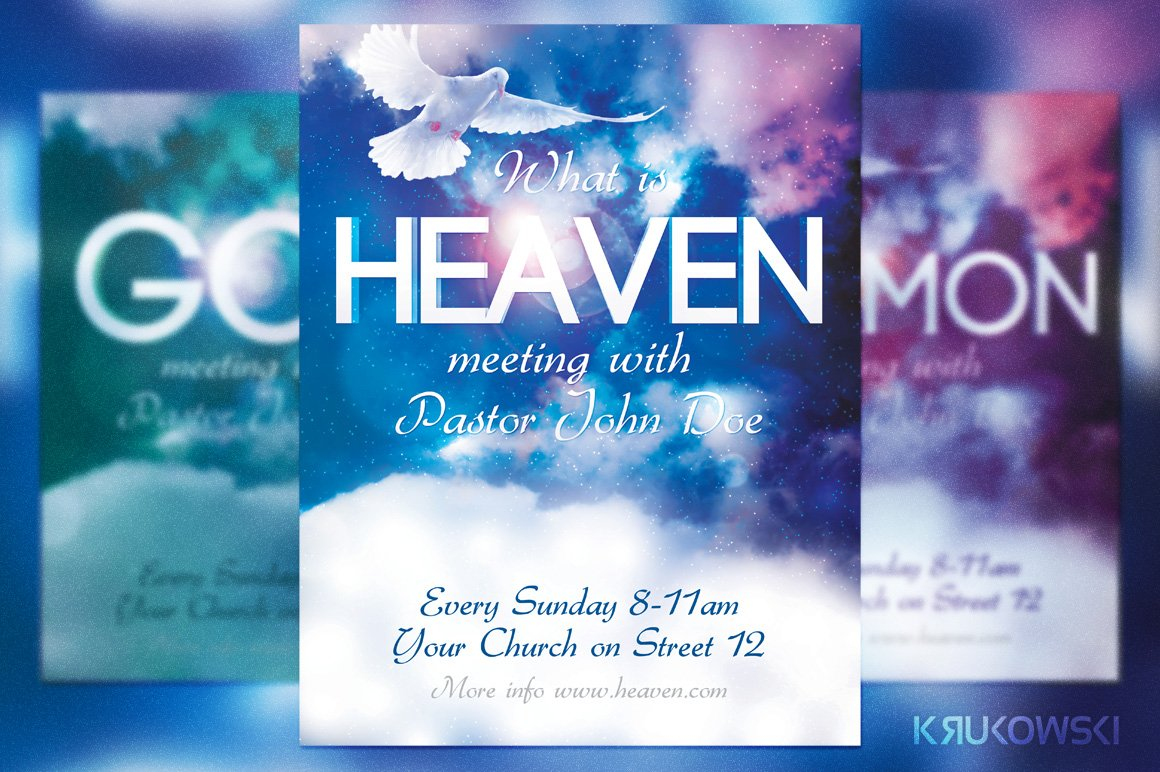 heaven church flyer flyer templates creative market