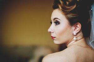 A profile of a pretty bride