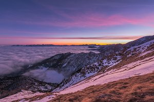 Vivid sunset in the mountains