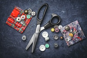 scissors and buttons