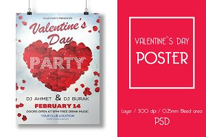 Valentine`s Day DJ Party Poster
