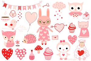 Pink Valentine animals clipart set