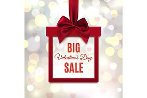 Big, Valentines Day Sale. Red, square banner in form of gift.