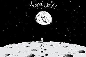 Astronaut walking on surface of moon