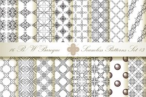 16 B&W Seamless Baroque Florals #3