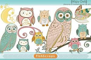Owl Clip Art - Wispy Pastel