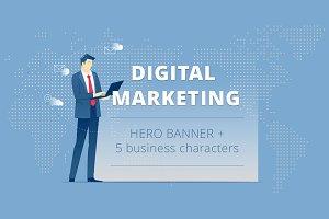 Digital marketing. Hero banner pack