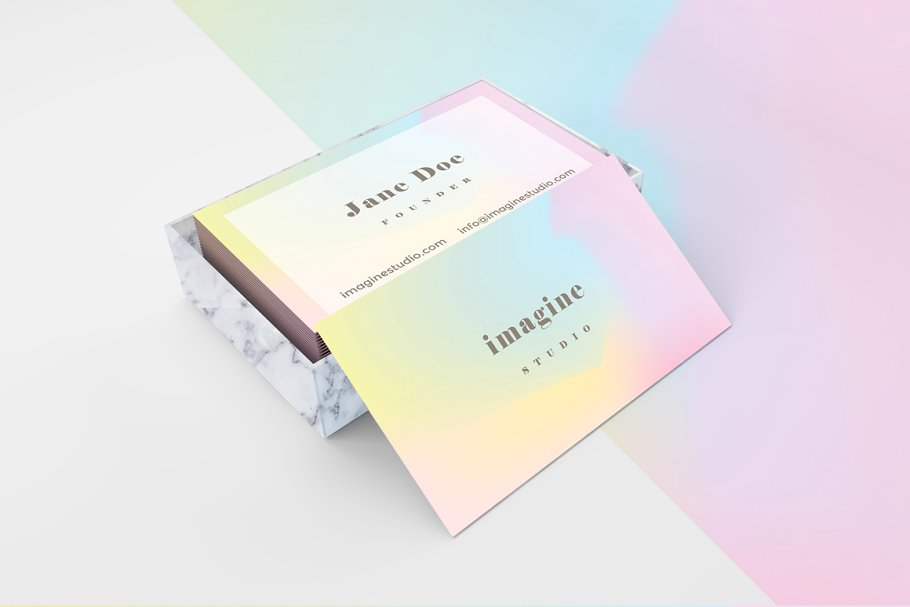 Minimal holographic business card ~ Business Card Templates