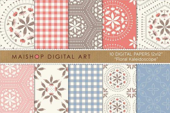 Digital Paper - Floral Kaleidoscope