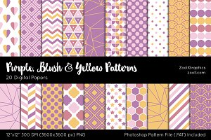 Purple Blush & Yellow Digital Papers