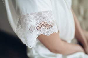 Close up of lace of wedding dress