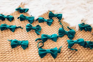 Wedding bow ties on a basket background before the ceremony