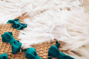 Wedding with feather fan, bow ties on a basket background.