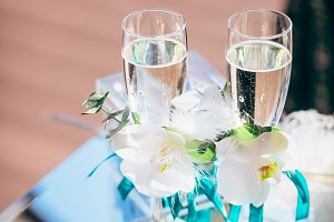 Luxury wine glasses with champagne, wedding decoration