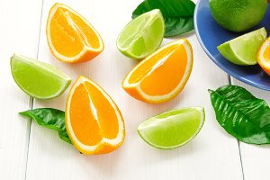 Orange and lime slices