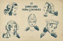 Vintage Paris ladies from centuries