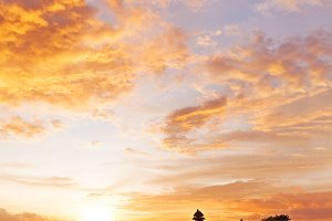 Sunset at Tanah Lot temple, Bali.