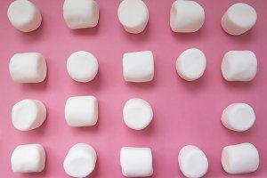 geometric pattern of marshmallows