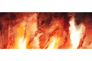 Watercolor fire flame background
