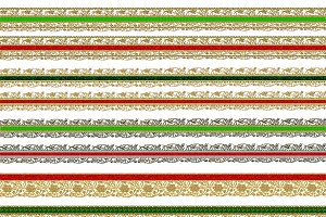 Christmas gold lace ribbon borders