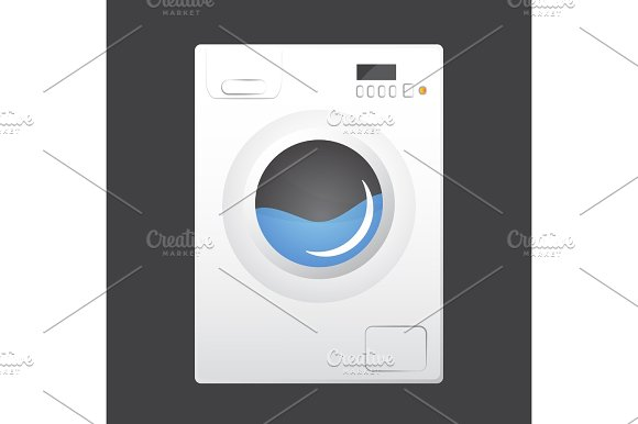 Washing machine isolated on gray background