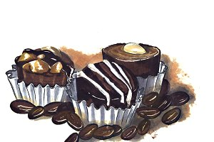 chocolate and coffee. illustration for cafes or restaurants.