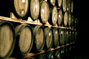 Wine barrels stacked