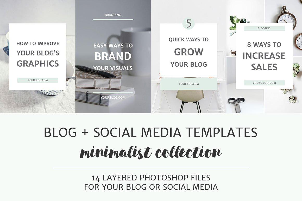 blog social media image templates pinterest templates creative market. Black Bedroom Furniture Sets. Home Design Ideas