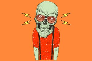 Cartoon skull music fan hand drawn illustration