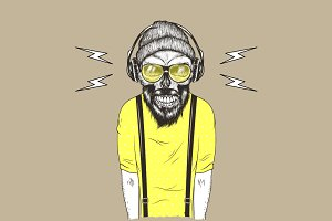 Hipster music fan vector hand drawn illustration