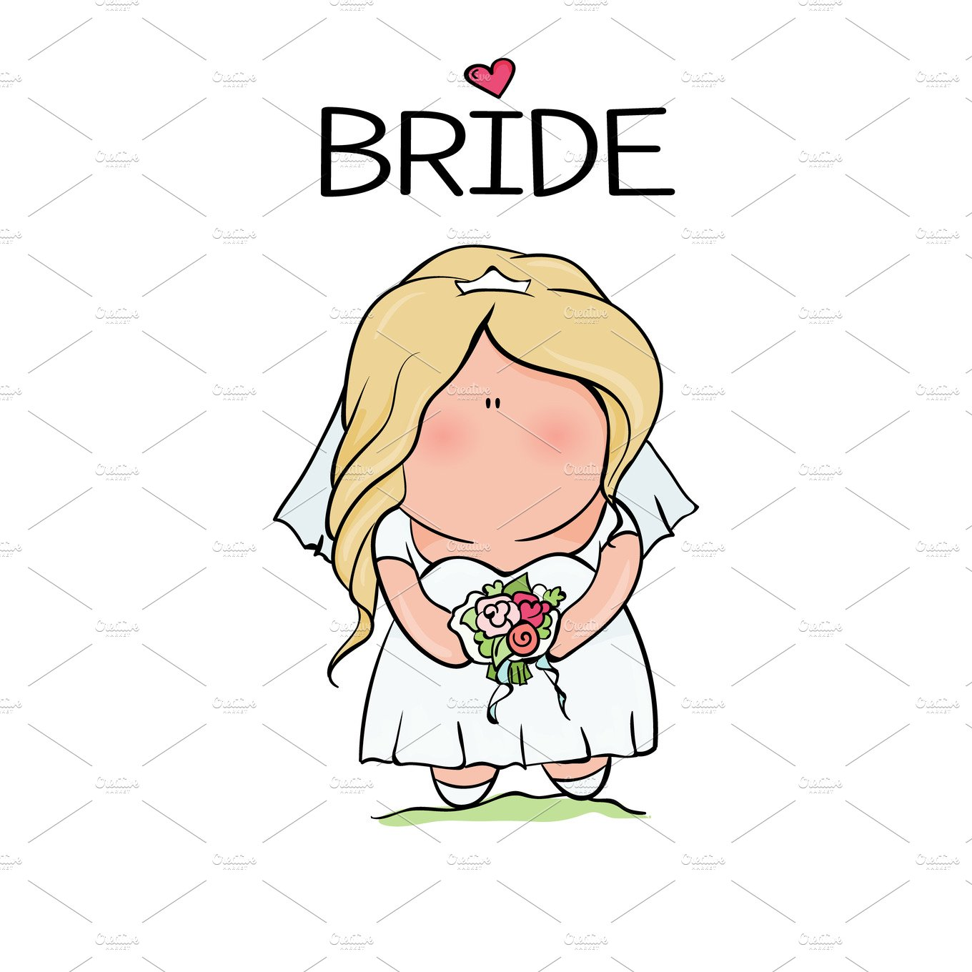doodle character. cute bride. template for print ~ Illustrations ...