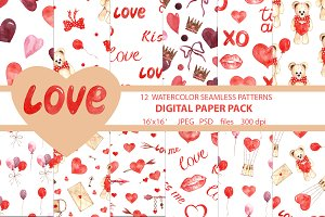 watercolor seamless pattern love