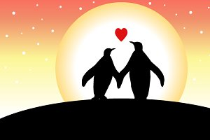 Love penguins on Valentine's Day
