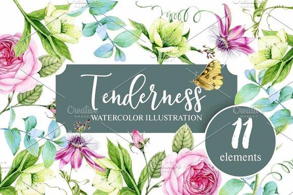 Tenderness. Watercolor illustration.
